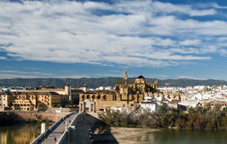Cathedral of Cordoba. Cathedral next to the mosque of Cordoba, image taken from aerial view, the river is Guadalquivir passage through the city Stock Photography