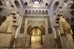 Inside of the Cathedral in Cordoba, Andalusia, Spain royalty free stock image