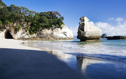 Cathedral Cove. Beach on the Cathedral Cove on the Coromandel Peninsula in New Zealand Stock Photography