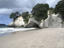Cathedral Cove. A cave on the beach at Cathedral Cove marine reserve in New Zealand Royalty Free Stock Photo