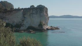 Cathedral Cove Beach, Coromandel Peninsula - New Zealand; View to Mahurangi Island Hahei stock video