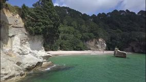 Cathedral Cove in the Coromandel Peninsula, New Zealand stock video footage