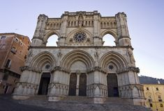 Cathedral of Cuenca, Castilla la Mancha, Spain. Cuenca Cathedral Fachade. Exceptional expression of Gothic Anglo-Norman, begun in 1196 royalty free stock image