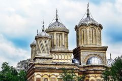 Cathedral Curtea de Arges towers. Curtea de Arges Cathedral towers, Romania royalty free stock photography