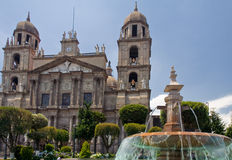 cathedral de fountain lerdo墨西哥toluca 库存照片