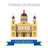 Cathedral de Granada Nicaragua vector flat attraction landmarks Royalty Free Stock Images