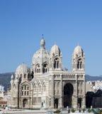 Cathedral de la Major, iglesia y señal local en Marsella, Francia Imágenes de archivo libres de regalías