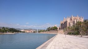 Cathedral de Palma in Spain. Park and space just before cathedral de Palma in Spain stock photography