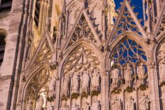 Cathedral details, Rouen, France. Close up details of ornate architectural details on Rouen Cathedral, Normandie,  France Stock Photos