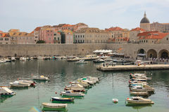 Cathedral dome and old port. Dubrovnik. Croatia Stock Images
