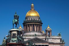 Cathedral dome and statue Stock Photography
