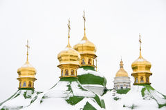 Cathedral domes in Kiev Stock Photo