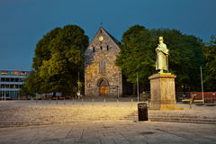 Cathedral Domkirke at night in Stavanger, Norway. Stock Images