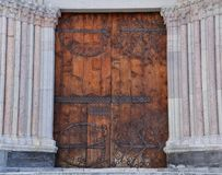 Cathedral door flanked by columns Royalty Free Stock Photography