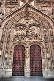 Cathedral door in Salamanca royalty free stock photo