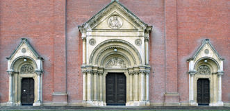 Cathedral doors. Large and small ports on the entrance of the cathedral in djakovo Royalty Free Stock Photo