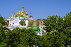 Cathedral of the Dormition, Kiev Pechersk Lavra,  Ukraine. Cathedral of the Dormition in the background of blue spring sky, Kiev  Pechersk Lavra,  Ukraine Stock Photo