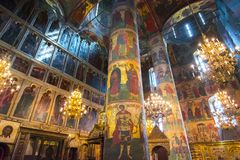 Cathedral of the Dormition Uspensky Sobor or Assumption Cathedral of Moscow Kremlin interior, Russia stock photos