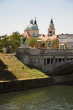 Cathedral and Dragon Bridge, Ljubljana Stock Images