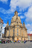 Cathedral of Dresden. DRESDEN, GERMANY - JUNE 14: Cathedral and the town square of Dresden on June 13, 2014. Dresden is the capital city of the Free State of Royalty Free Stock Photos
