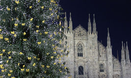Cathedral of Duomo during Christmas holidays, Milano Stock Photos