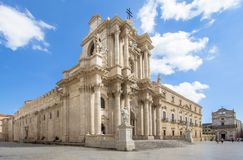 The Cathedral Duomo in Syracuse, Sicily, Italy Stock Images