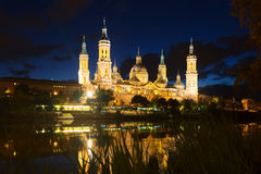Cathedral  and Ebro  in night. Zaragoza Royalty Free Stock Images
