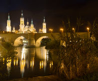 Cathedral and Ebro  in night. Zaragoza Royalty Free Stock Image