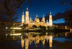 Cathedral and Ebro river in evening. Zaragoza Stock Photography