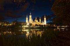 Cathedral from Ebro river in night. Zaragoza Royalty Free Stock Images