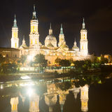 Cathedral and Ebro river in night. Zaragoza Royalty Free Stock Images