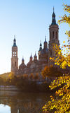 Cathedral and Ebro river in sunny morning. Zaragoza Royalty Free Stock Images