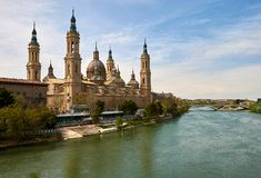 Zaragoza, Aragon, Spain. Cathedral and Ebro river, Zaragoza, Aragon, Spain Royalty Free Stock Images