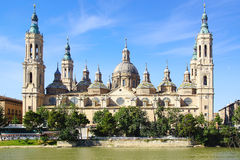 Cathedral and Ebro river in Zaragoza Stock Images