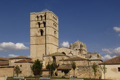 Cathedral El Salvador, Zamora, Spain. Cathedral Zamora,Such rapid Salvador, Castila y Leon, Spain stock photography
