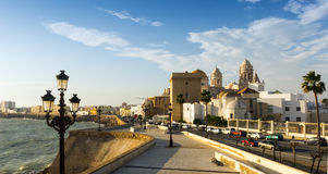 Cathedral and  embankment in  Cadiz Royalty Free Stock Photography