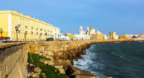 Cathedral and  embankment in  Cadiz Royalty Free Stock Images