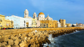 Cathedral and  embankment in Cadiz, Spain Royalty Free Stock Photo