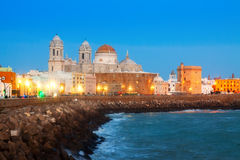 Cathedral and  embankment in evening. Cadiz Stock Photography
