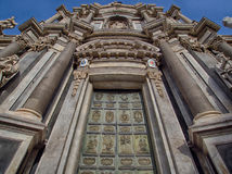 Cathedral entrance in catania stock images