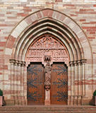 Cathedral entrance door. Cathedral entrance in Obernai, France Stock Image