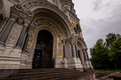 Cathedral entrance with ornamental arch Royalty Free Stock Photo