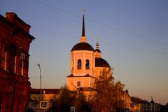 Cathedral of the Epiphany in Tomsk. On central square at sunset royalty free stock image