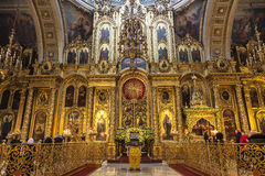 The Cathedral of the Epiphany in Yelokhovo, the iconostasis. Moscow, Stock Image