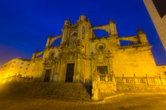 Cathedral in  evening. Jerez de la Frontera Royalty Free Stock Photo