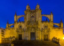Cathedral in evening time. Jerez de la Frontera. Front shot of Cathedral in evening time. Jerez de la Frontera, Spain royalty free stock photo