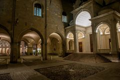 Cathedral. External view of the cathedral of Bergamo at night Royalty Free Stock Image