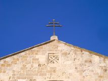 CATHEDRAL FACADE OF PARTICULAR OTRANTO. The medieval double-sloped façade has been the subject of numerous alterations carried out over the centuries. In the royalty free stock image