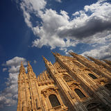 Cathedral Facade under a Cloudy Sky Stock Image