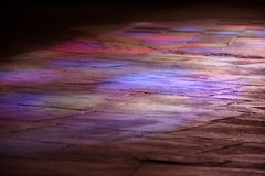 Cathedral Floor Lit By Stained Glass Royalty Free Stock Photo